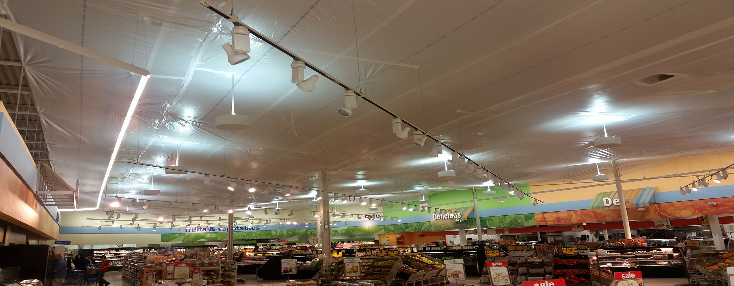 sprinkler seam systems installed in grocery store